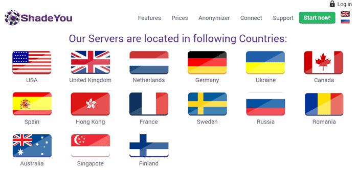 ShadeYouVPN Servers Locations